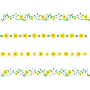 フリーイラスト, ベクター画像, EPS, 飾り罫線(ライン), 植物, 花, 向日葵(ヒマワリ), 黄色の花, 夏