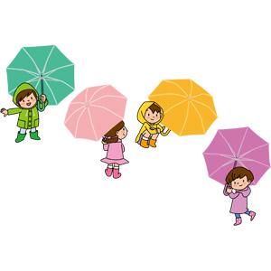 フリーイラスト, ベクター画像, EPS, 人物, 子供, 男の子, 女の子, 傘, カッパ(レインコート), 梅雨