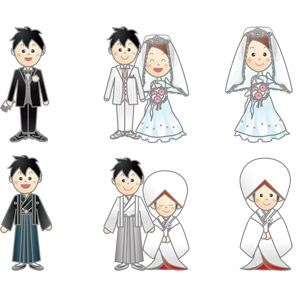 フリーイラスト, ベクター画像, AI, 人物, カップル, 結婚式(ブライダル), 花婿(新郎), 花嫁(新婦), 神前結婚式, タキシード, ウェディングドレス, 和服, 紋付羽織袴, 白無垢