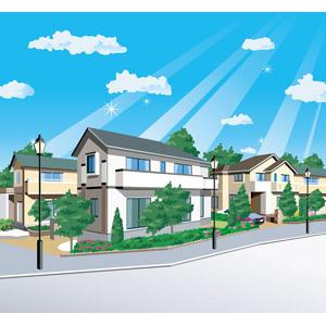 フリーイラスト, ベクター画像, EPS, 風景, 建造物, 建築物, 家(一軒家), 住宅, マイホーム, 青空, 太陽光(日光), 薄明光線