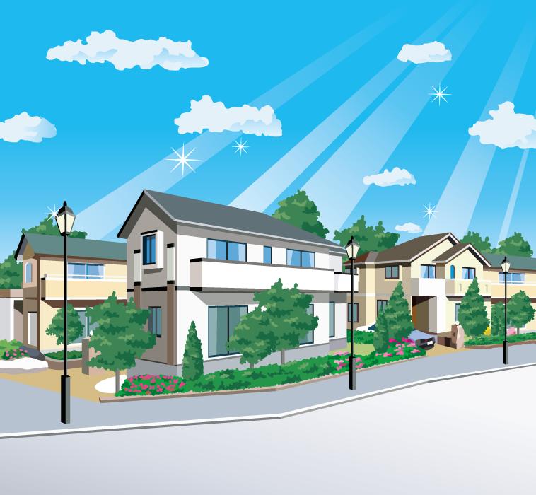 フリーイラスト 青空と住宅街の風景