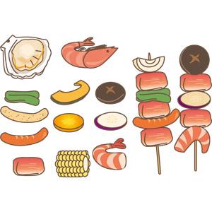 フリーイラスト, ベクター画像, EPS, 食べ物(食料), バーベキュー, 帆立貝(ホタテ貝), 海老(エビ), 食肉, ソーセージ(ウィンナー), 椎茸(シイタケ), ピーマン, 南瓜(カボチャ), 人参(ニンジン), さつまいも, とうもろこし(トウモロコシ)