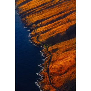 フリー写真, 風景, 海岸, 海, 道路, アメリカの風景, ハワイ州, 航空写真