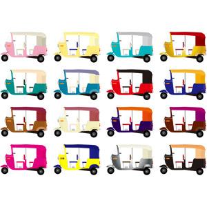 フリーイラスト, ベクター画像, AI, 乗り物, タクシー, オート三輪, 三輪タクシー