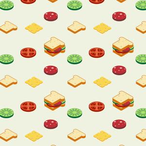 フリーイラスト, ベクター画像, AI, 背景, 食べ物(食料), パン, サンドイッチ, 食パン, トマト, ハム, チーズ