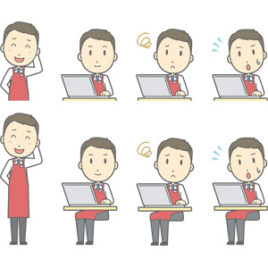 フリーイラスト, ベクター画像, AI, 人物, 男性, 男性(00225), 仕事, 職業, 店員, スーパーマーケット, エプロン, 照れる, パソコン(PC), ノートパソコン, デスクワーク, 困る, 焦る