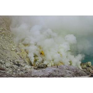フリー写真, 風景, 鉱山, 硫黄, 煙(スモーク), インドネシアの風景, ジャワ島