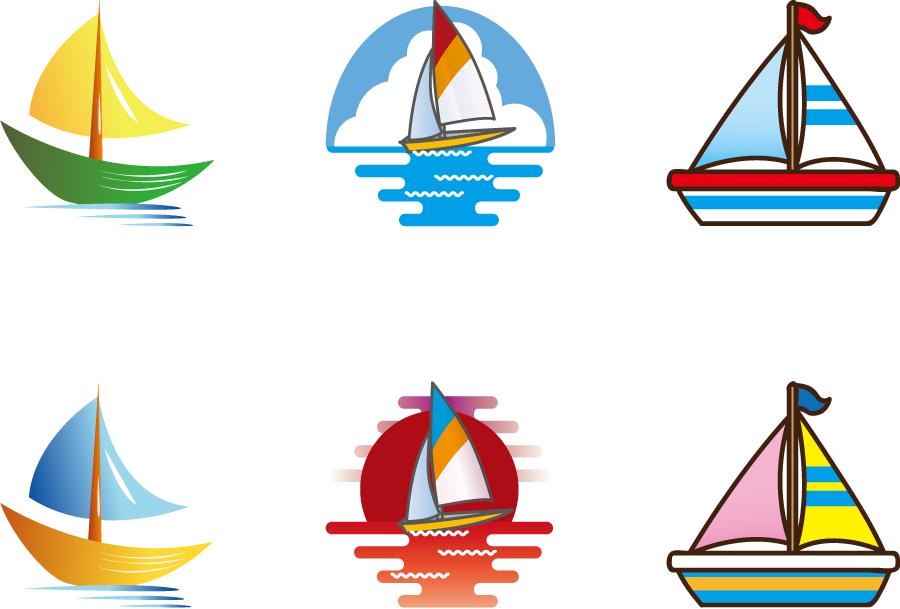 フリーイラスト 6種類のヨットのセット