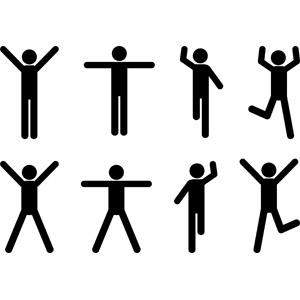 フリーイラスト, ベクター画像, AI, 人物, 男性, ピクトグラム, 手を上げる, 万歳(バンザイ), 手を広げる, 踊る(ダンス), 喜ぶ(嬉しい)