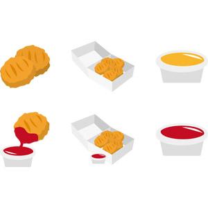 フリーイラスト, ベクター画像, AI, 食べ物(食料), 料理, 鶏料理, 揚げ物, チキンナゲット, アメリカ料理, ファーストフード, ケチャップ, マスタード