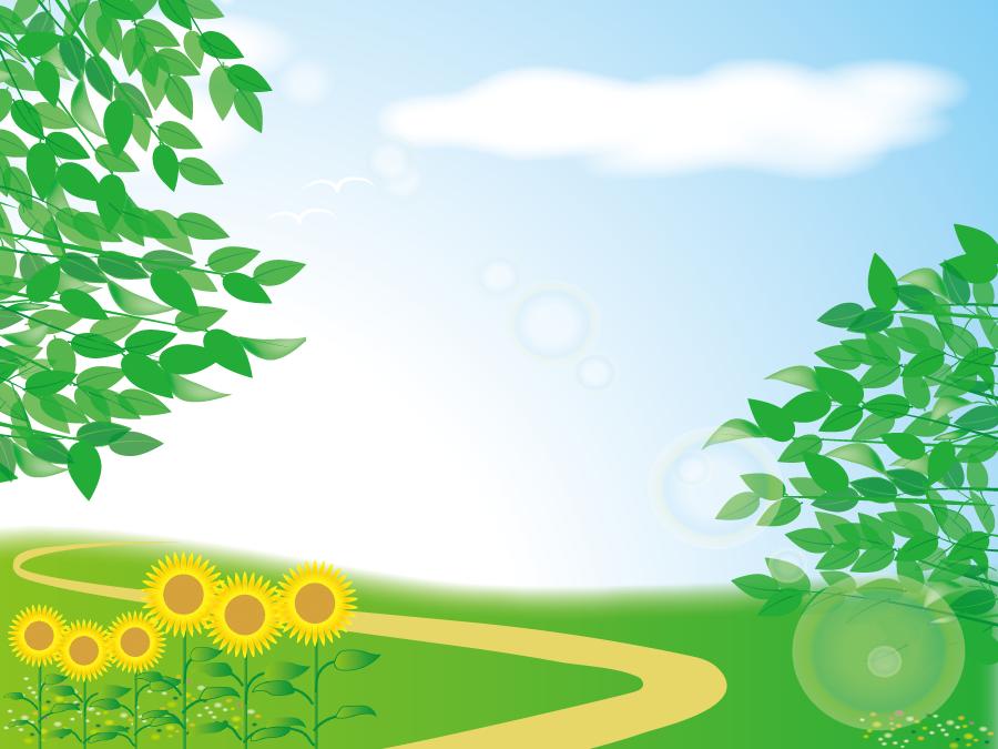 フリーイラスト ひまわりの花と新緑の葉と小道の風景