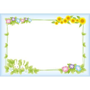 フリーイラスト, ベクター画像, EPS, 背景, フレーム, 囲みフレーム, 植物, 花, 朝顔(アサガオ), 向日葵(ヒマワリ), 葉っぱ, 兎(ウサギ)