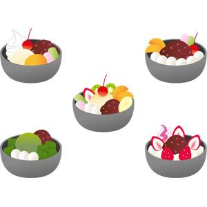 フリーイラスト, ベクター画像, AI, 食べ物(食料), 菓子, 和菓子, あんみつ, 夏, 抹茶, 餡(あんこ)