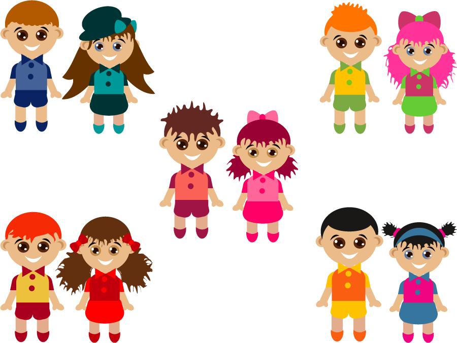 フリーイラスト 5組の子供のカップルのセット