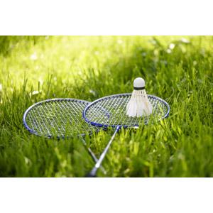 フリー写真, スポーツ, バドミントン, ラケット(バドミントン), シャトルコック, 芝生