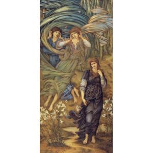 フリー絵画, エドワード・バーン=ジョーンズ, 宗教画, 旧約聖書, レバノンの花嫁, 花婿(新郎), 百合(ユリ), 人と花, 風, 耳を澄ます