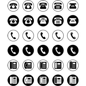 フリーイラスト, ベクター画像, EPS, アイコン, 電話, 固定電話, ビジネス