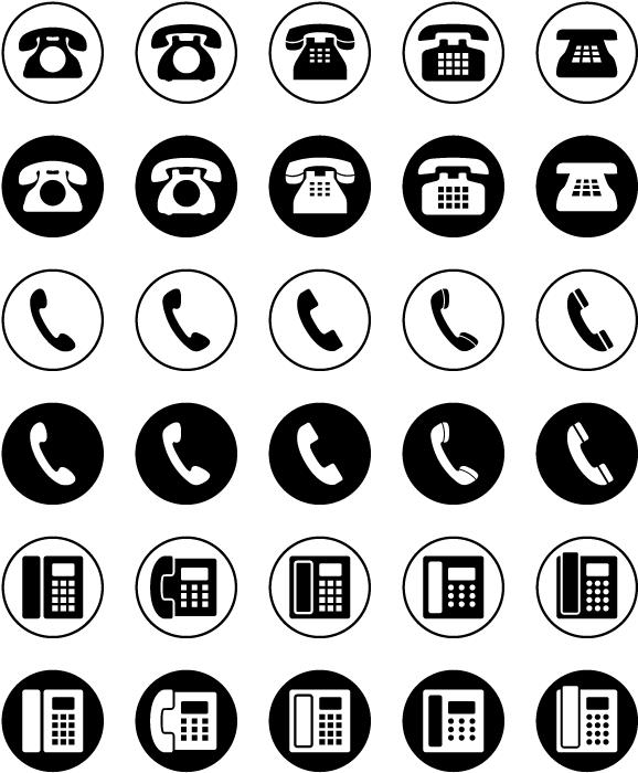 フリーイラスト 30種類の電話機のアイコンのセット