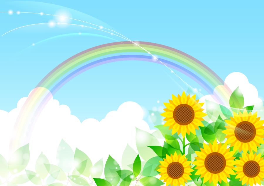 フリーイラスト ひまわりと青空に架かる虹