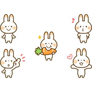 フリーイラスト, 動物, 哺乳類, 兎(ウサギ), 食べる(動物), 口笛, 喜ぶ(動物), 人参(ニンジン), 指差す