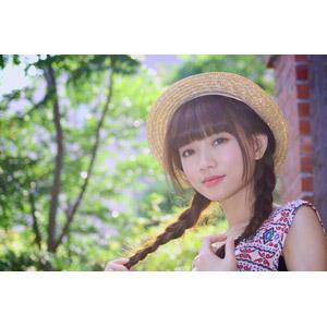 フリー写真, 人物, 女性, アジア人女性, 可艾(00184), 中国人, 麦わら帽子, ツインテール, 三つ編み