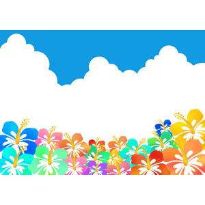フリーイラスト, ベクター画像, AI, 背景, 植物, 花, ハイビスカス, カラフル, 夏, 積乱雲(入道雲)