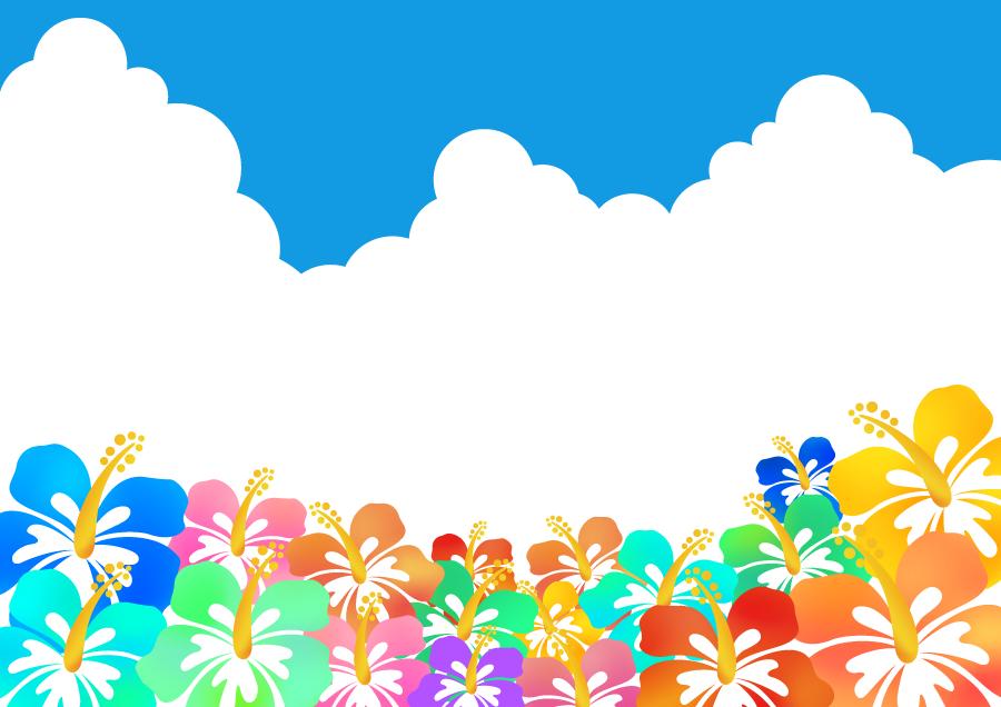 フリーイラスト カラフルなハイビスカスと入道雲の背景