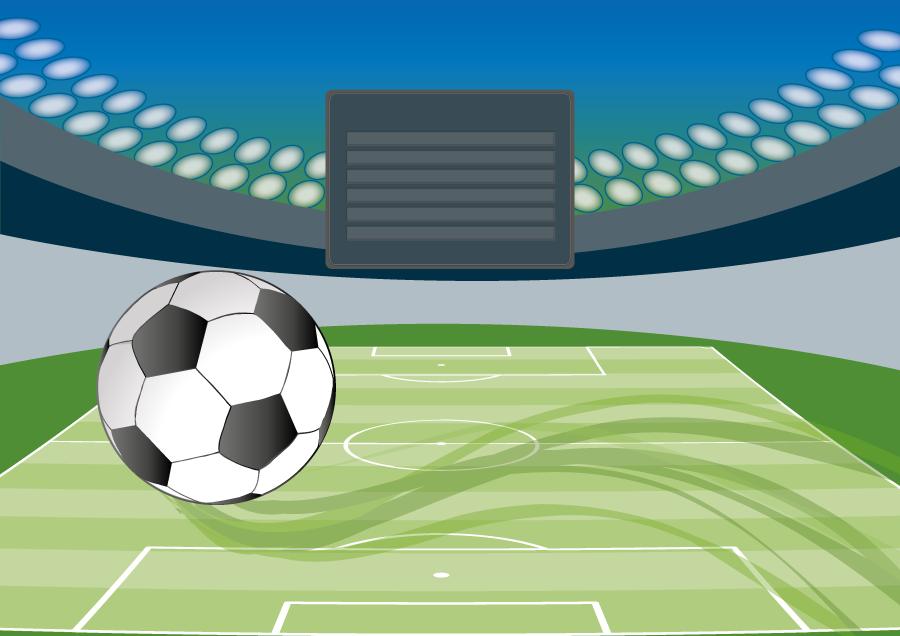 フリーイラスト サッカーボールとスタジアムの背景