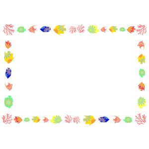 フリーイラスト, ベクター画像, AI, 背景, フレーム, 囲みフレーム, 魚(サカナ), 熱帯魚, 珊瑚(サンゴ)