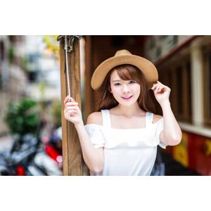 フリー写真, 人物, 女性, アジア人女性, 中国人, 女性(00232), 帽子, 麦わら帽子