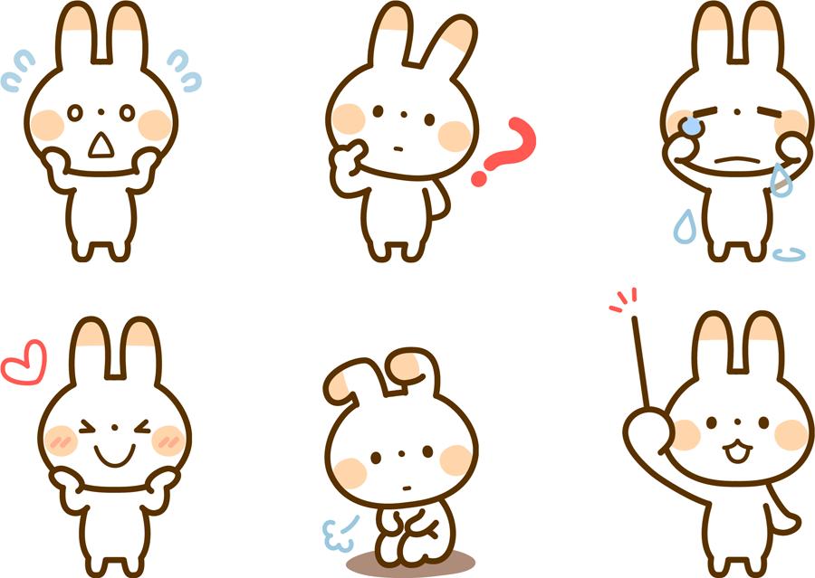 フリーイラスト 6種類のウサギのキャラクターのセット