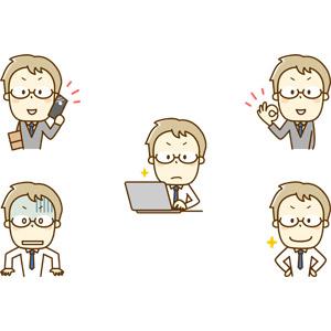 フリーイラスト, 人物, 男性, 仕事, 職業, サラリーマン, ビジネスマン, 眼鏡(メガネ), 通話, スマートフォン(スマホ), 携帯電話, OKサイン, デスクワーク, パソコン(PC), ノートパソコン, 衝撃(ショック), 青ざめる, 腰に手を当てる