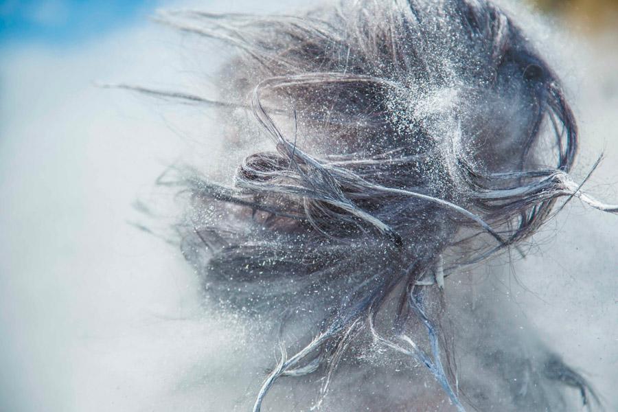 フリー写真 白い粉と髪の毛
