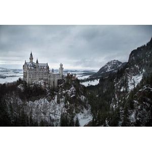 フリー写真, 風景, 建造物, 建築物, 城, ドイツの風景, バイエルン州, ノイシュバンシュタイン城, 雪, 冬