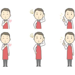 フリーイラスト, ベクター画像, AI, 人物, 男性, 男性(00225), 仕事, 職業, 店員, スーパーマーケット, エプロン, 恋する, 胸に手を当てる, 困る, 指差す, アドバイス