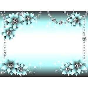 フリーイラスト, ベクター画像, EPS, 背景, フレーム, 囲みフレーム, 宝石, ダイヤモンド, 花