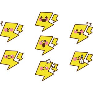 フリーイラスト, ベクター画像, AI, 天気, 落雷(カミナリ), 口笛, 寝る(寝顔), 喜ぶ(嬉しい), 怒る, 驚く, 困る, 黄色(イエロー), 汗を拭く(汗を拭う)