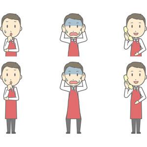 フリーイラスト, ベクター画像, AI, 人物, 男性, 男性(00225), 仕事, 職業, 店員, スーパーマーケット, エプロン, 心配する, 頭を抱える, 失敗, 青ざめる, 冷や汗をかく, 固定電話, 通話