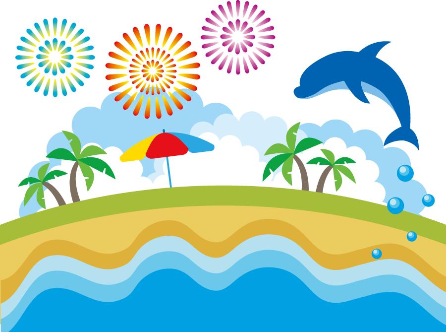 フリーイラスト イルカの飛ぶ夏の海と花火とヤシの木の背景