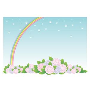 フリーイラスト, ベクター画像, AI, 背景, 6月, 梅雨, 虹, 植物, 花, 紫陽花(アジサイ), 雨, 水滴(雫)