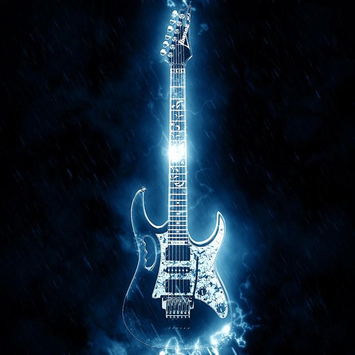 フリー写真 青い稲妻に包まれるギター