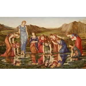 フリー絵画, エドワード・バーン=ジョーンズ, 物語画, 神話, ローマ神話, ヴィーナス, 女神, 鏡像, 覗く, 水溜まり