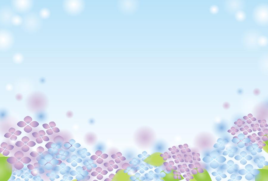 フリーイラスト 紫陽花と白い玉ボケのフレーム