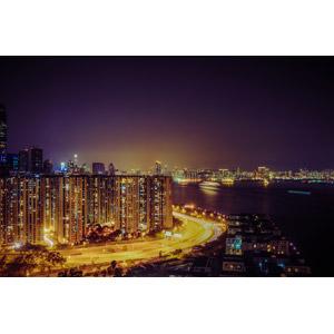 フリー写真, 風景, 建造物, 建築物, 高層ビル, 住宅, マンション(団地), 都市, 街並み(町並み), 夜, 夜景, 中国の風景, 香港