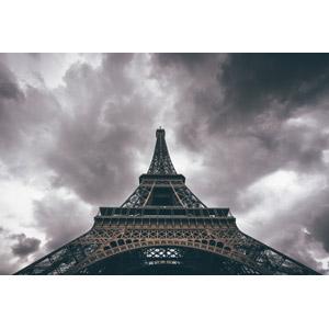 フリー写真, 風景, 建造物, 建築物, 塔(タワー), エッフェル塔, フランスの風景, パリ, 暗雲