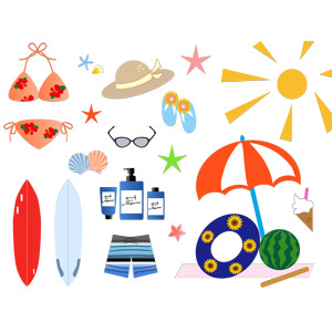 フリーイラスト, ベクター画像, AI, 夏, 海水浴, 水着, ビキニ, 海水パンツ, 麦わら帽子, サーフボード, 日焼け止め, スイカ割り, 浮き輪, ビーチサンダル, ビーチパラソル, サングラス, ビーチサンダル, 貝殻, ヒトデ, 太陽