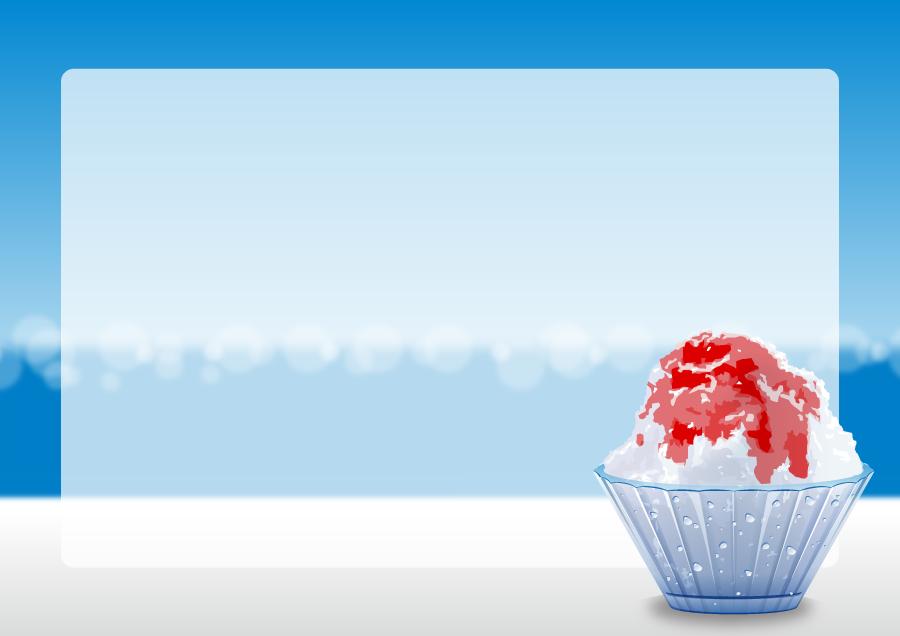 フリーイラスト かき氷の飾り枠