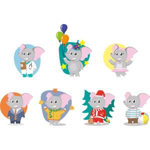フリーイラスト, ベクター画像, AI, 動物, 哺乳類, 象(ゾウ), 医者(医師), 風船, サンタの衣装