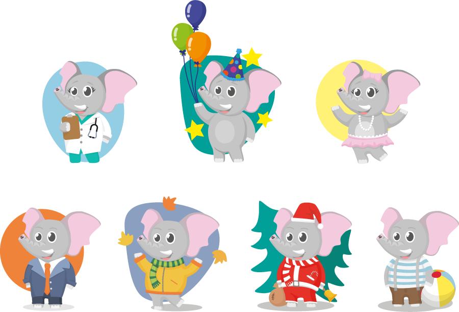 フリーイラスト 7種類のゾウのキャラクターのセット