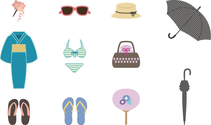 フリーイラスト 夏のファッションアイテムのセット